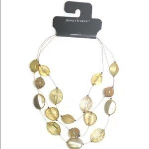 Women's Yellow Translucent shell necklace.